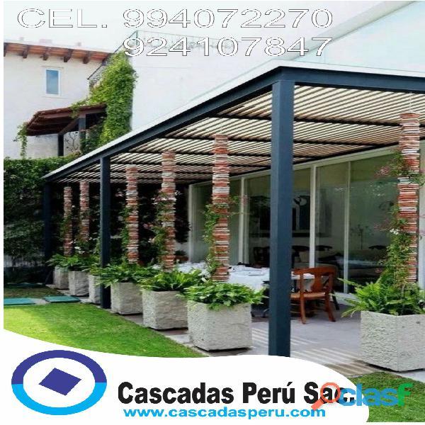 Techos sol y sombra, techos para jardín, sol y sombra de madera, decoración,