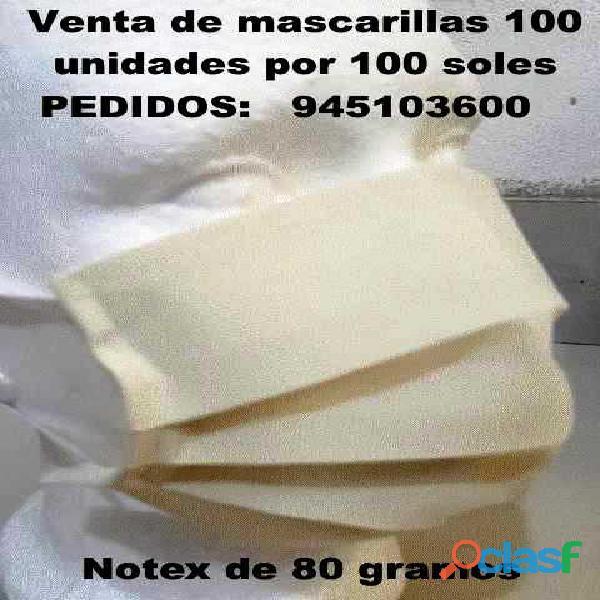Mascarillas notex 80 gramos lima pueblo libre 100 mascarillas por 100 soles