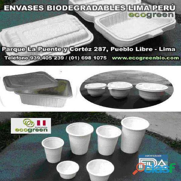 Vasos platos biodegradables ecológicos lima perú para alimentos con certificación fda