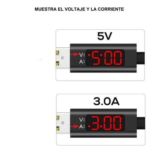 Cable cargador celular, con indicador voltaje y amperaje