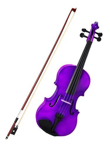Violin 4/4 de madera colores purpura morado lila