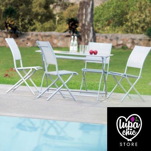 Juego de comedor manhattan 4 sillas terraza piscina