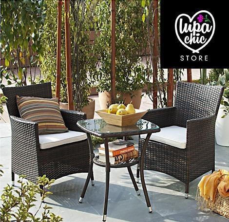 Juego mueble terraza living chocolate 2 personas verano
