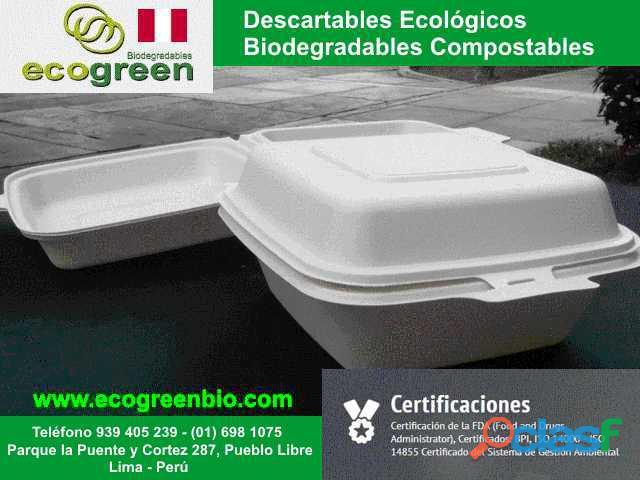 Biodegradables platos vasos cubiertos bandejas bowls contenedores lima peru ecológia