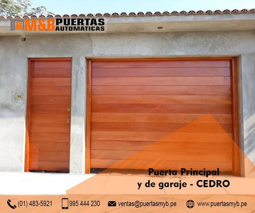 Puerta garaje seccional madera cedro motor liftmaster