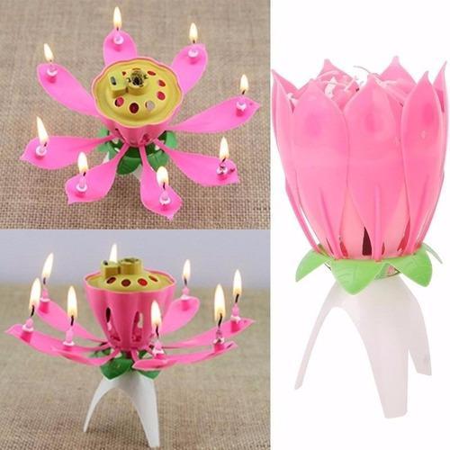 Vela flor de loto para cumpleaños musical