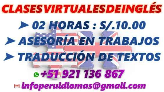 Clases virtuales de inglés s/.10 por 2 horas en Lima