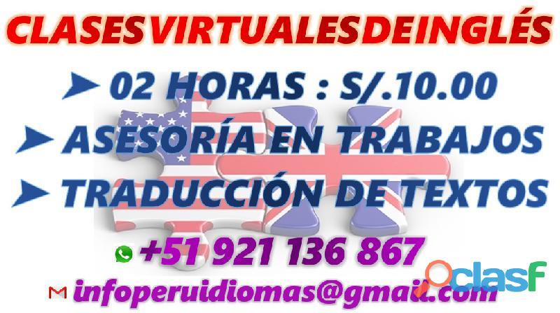 CLASES VIRTUALES DE INGLÉS S/.10 POR 2 HORAS
