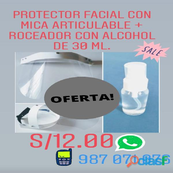 PROTECTOR FACIAL CARETAS + ATOMIZADOR SPRAY CON ALCOHO DE 96 GRADOS