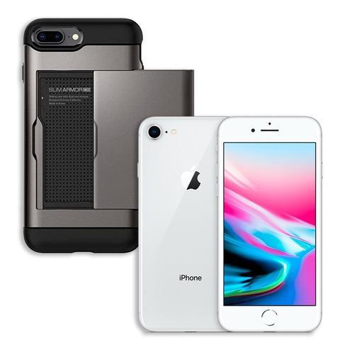 Kit iphone 8 64gb silver + spigen slim armor con tarjetero