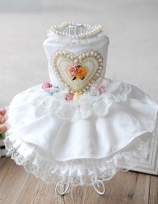Vestido corazón, perlas y rosas - blanco