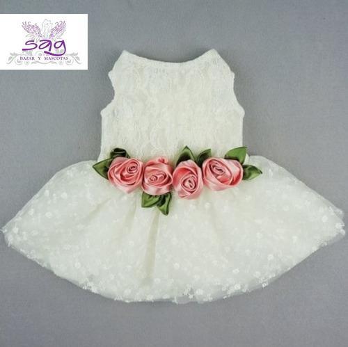 Vestido para mascota - blanco 4 rosas rosadas