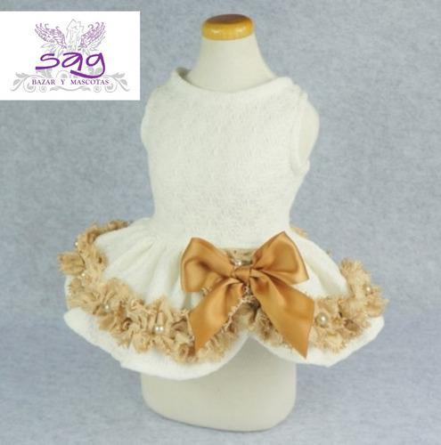 Vestido para mascota - blanco filo beige y perlas