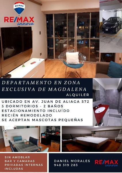 Alquiler de departamento en zona exclusiva de magdalena