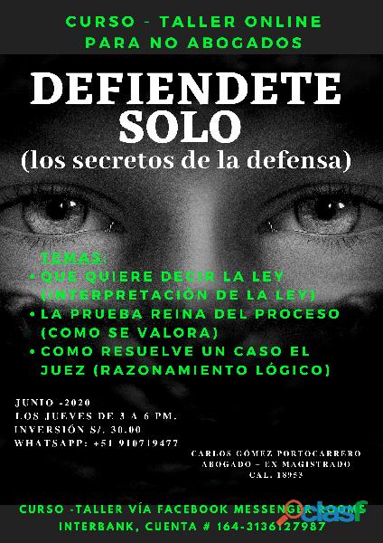 Curso taller online defiéndete solo, los secretos de la defensa legal