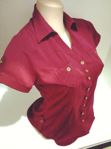 Blusa camisa oficina mujer, alta calidad - manga corta