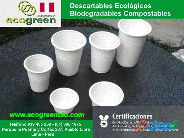 Vasos platos cubiertos biodegradables ecológicos lima perù para alimentos