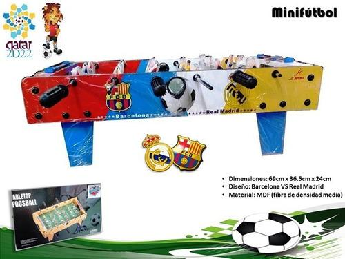 Mesa de futbolín 6(fútbol) real vs barcelona!!!!! original