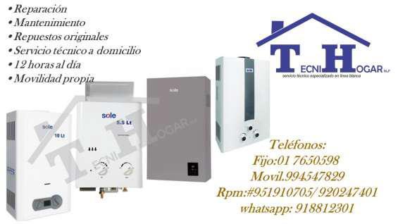 Servicio técnico de termas sole a gas 7650598 en lima