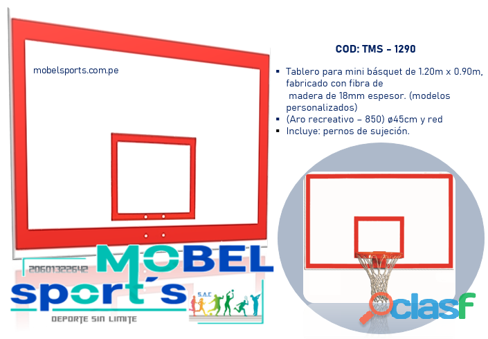 Mini tablero de basquet en fibra de madera   mobel sport´s