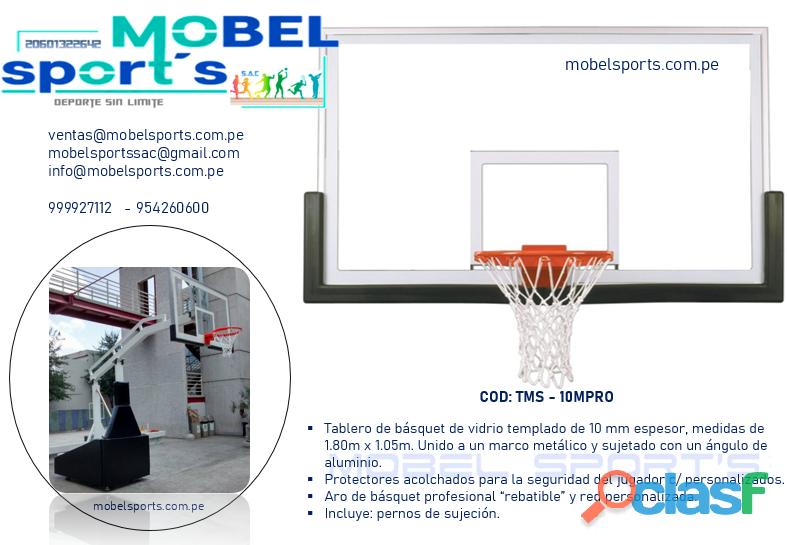 Tablero de basquet   vidrio templado   mobel sport´s