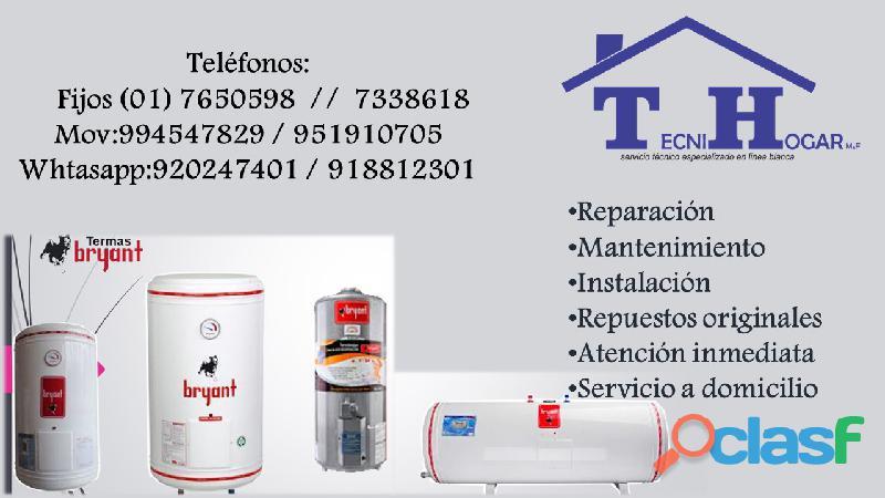 Servicio técnico mantenimiento reparaciones de terma bryant