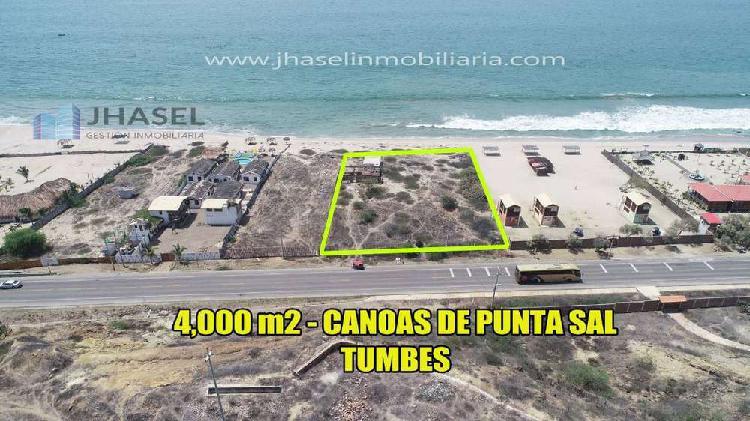 VENTA DE TERRENO DE 4,000 M2 EN CANOAS DE PUNTA SAL EN