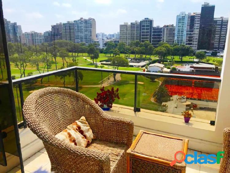 Departamento alquiler en san isidro bellisimo vista al golf zona san gabriel terraza 3 dormitorios