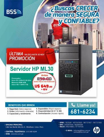 Servidor HP ML30 en Lima