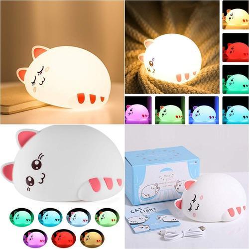 Lámpara silicona gatito gato recargable