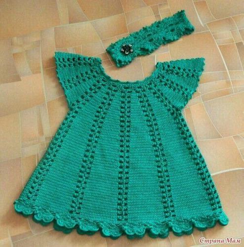 Vestido bebe tejido a mano crochet ropita