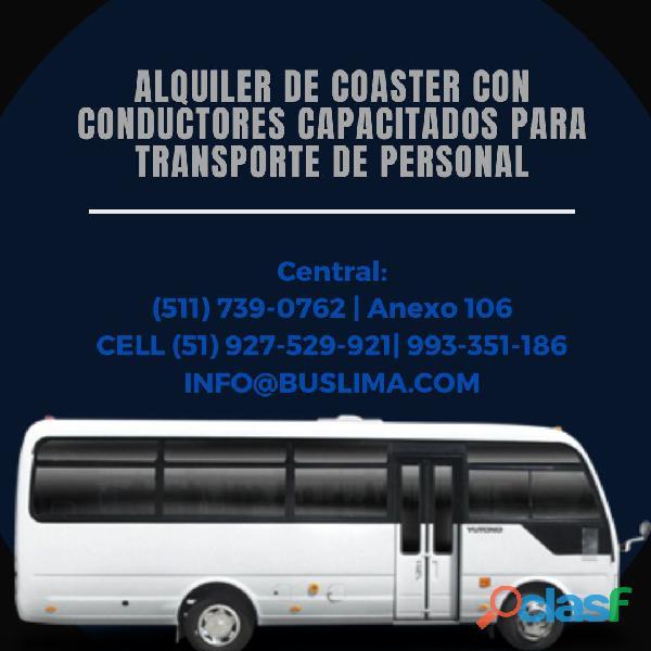 Alquiler de coaster con conductores capacitados para transporte de Personal