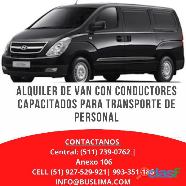 Alquiler de van con conductores capacitados para traslados de personal   lima