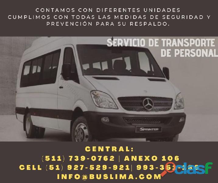 Contamos con diversas unidades para servicio de transporte de personal en todo lima