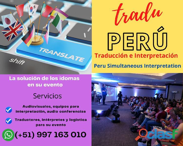 Servicios audiovisuales | traduccion simultanea | piura   lima   peru cel., 997163010
