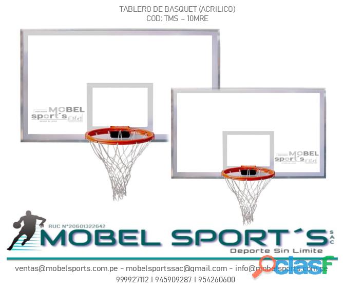Tablero de basquet   acrílico  mobel sport´s