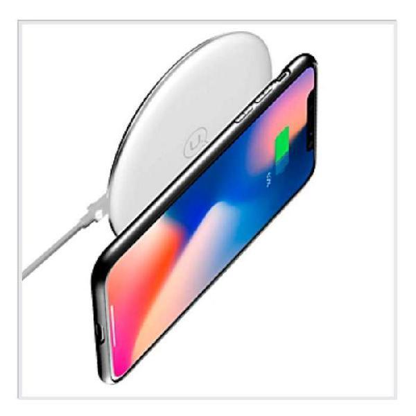 Cargador pad inalambrico con soporte blanca usams portátil