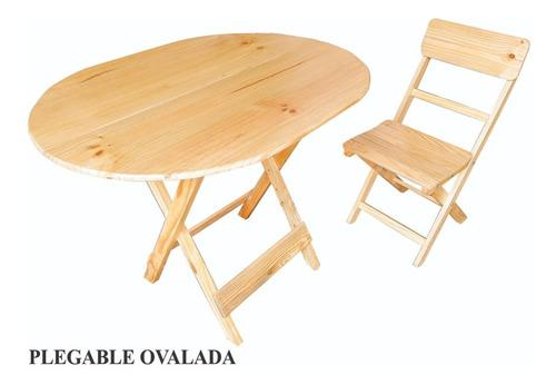 Mesa Plegable,madera Pino, Modelo Ovalado