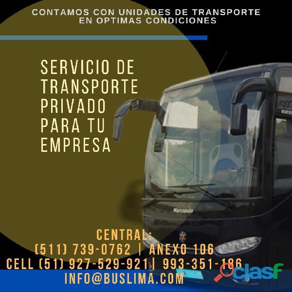 Alquiler de transporte de personal para empresas . lima