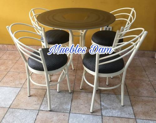 Comedor 4 sillas mas mesa vidrio redondo (nuevo)