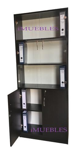 Estante librero puertas vidrio melamina organizador oficina