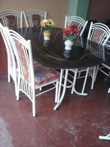 Juego comedor mesa vidrio con 6 sillas a solo 685 soles