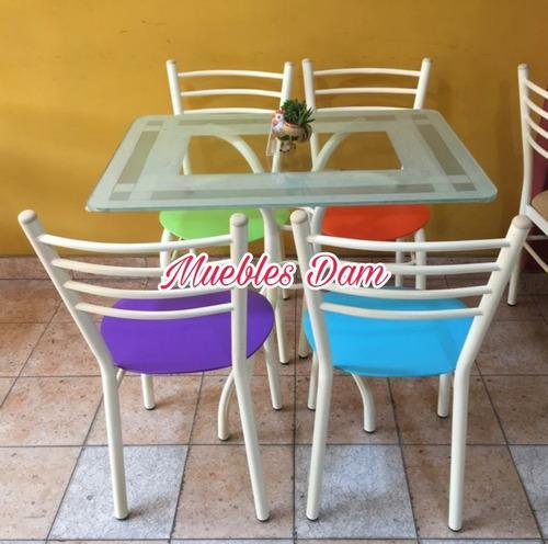 Juego comedor mesa vidrio y 4 sillas (nuevo)