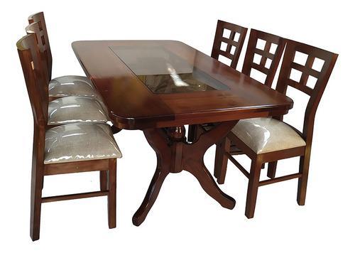 Juego de comedor 6 sillas madera pino modelo farol