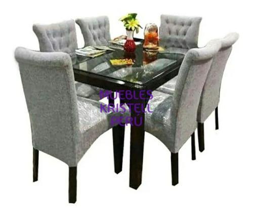 Juego de comedor 6 sillas - mesa vidrio 10mm - sillas -