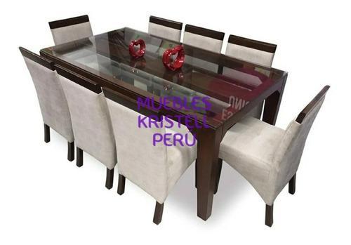 Juego de comedor 8 sillas - mesa madera vidrio - sillas