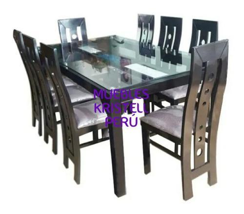 Juego de comedor 8 sillas - tapizadas - mesa - 6 sillas