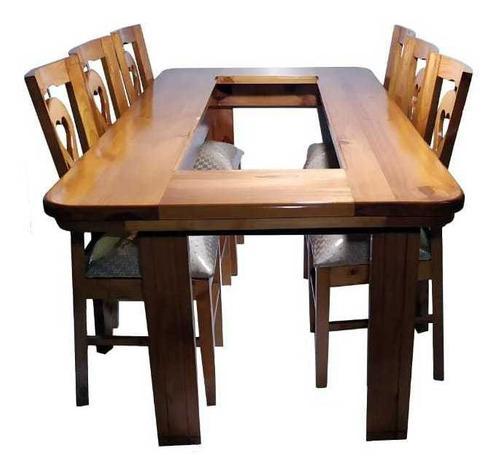 Juego de comedor madera de diseño en pino con ocho sillas