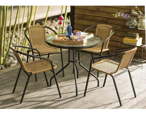 Juego de comedor ratan terraza 4 personas just garden 2019