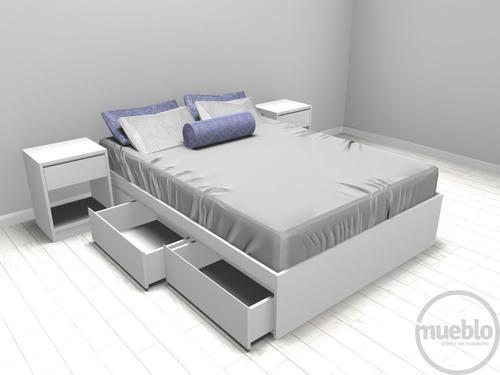 Juego dormitorio, cama dos plazas dos cajones, dos veladores